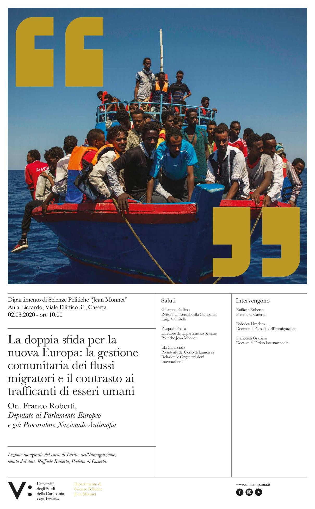 Il 2 marzo convegno sulle migrazioni all'Università di Caserta