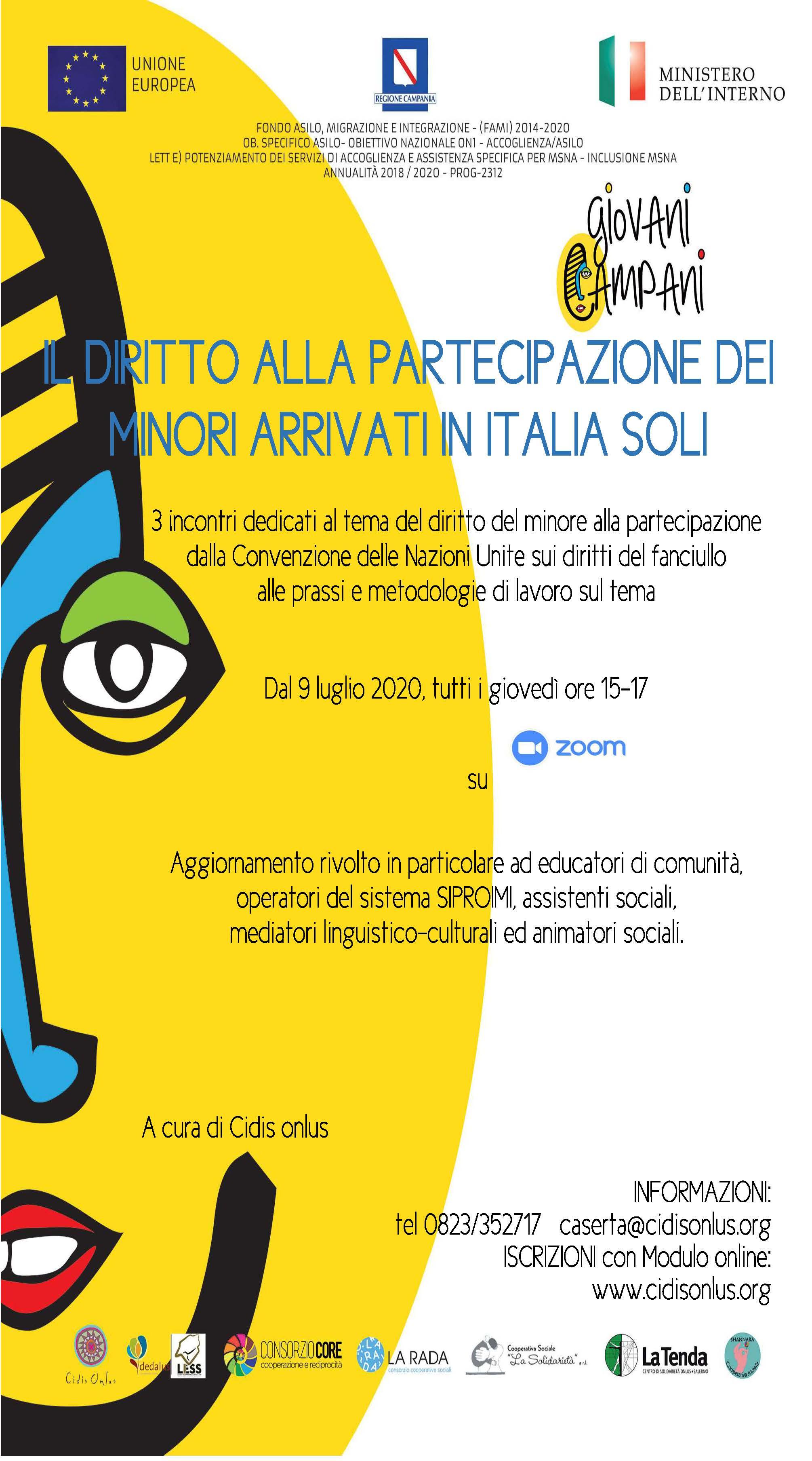 Partecipazione e minori stranieri arrivati soli in Italia, nuovi webinar gratuiti di Cidis