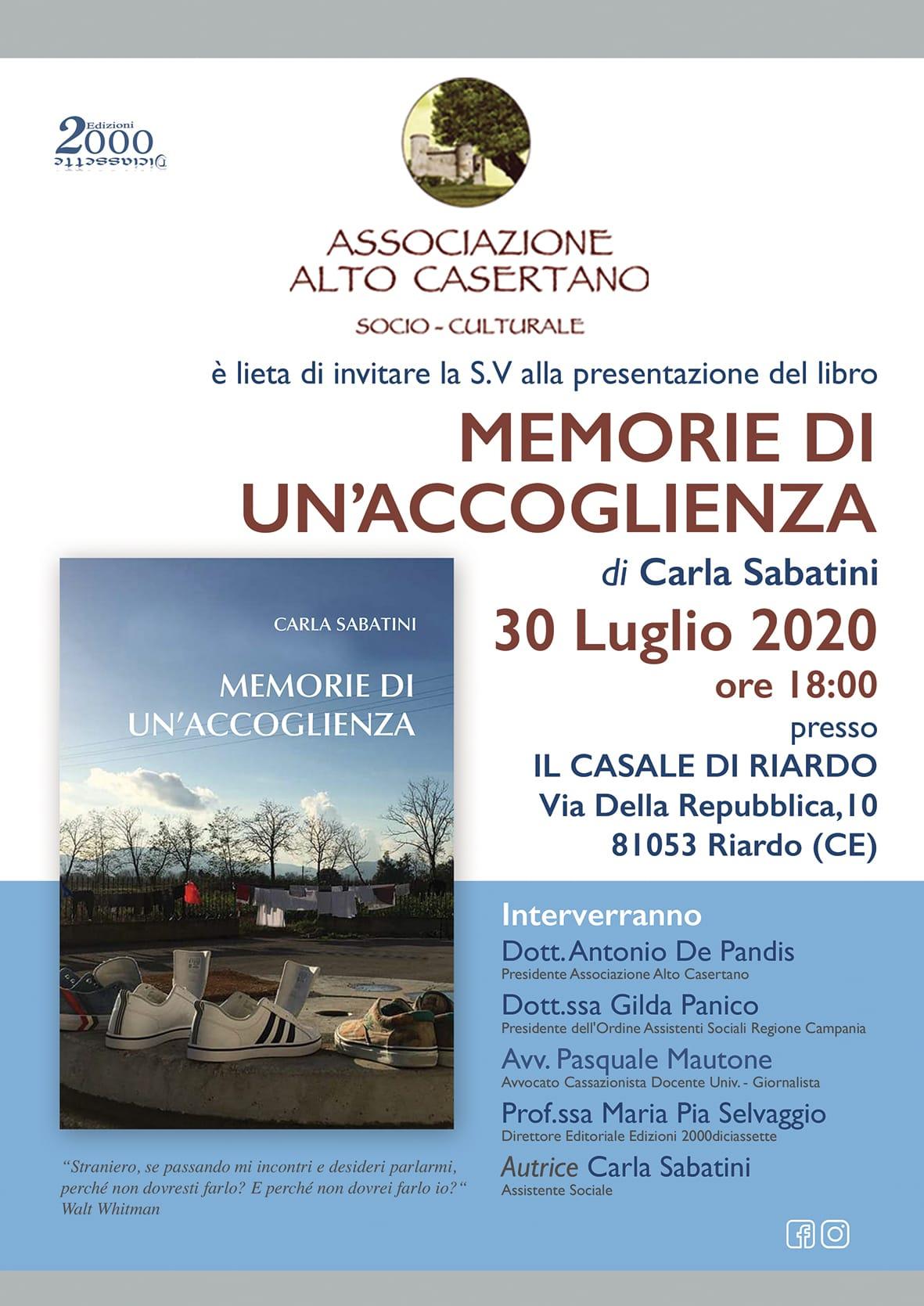 """""""MEMORIE DI UN'ACCOGLIENZA"""", IL 30 LUGLIO PRESENTAZIONE A RIARDO. INTERVISTA ALL'AUTRICE"""