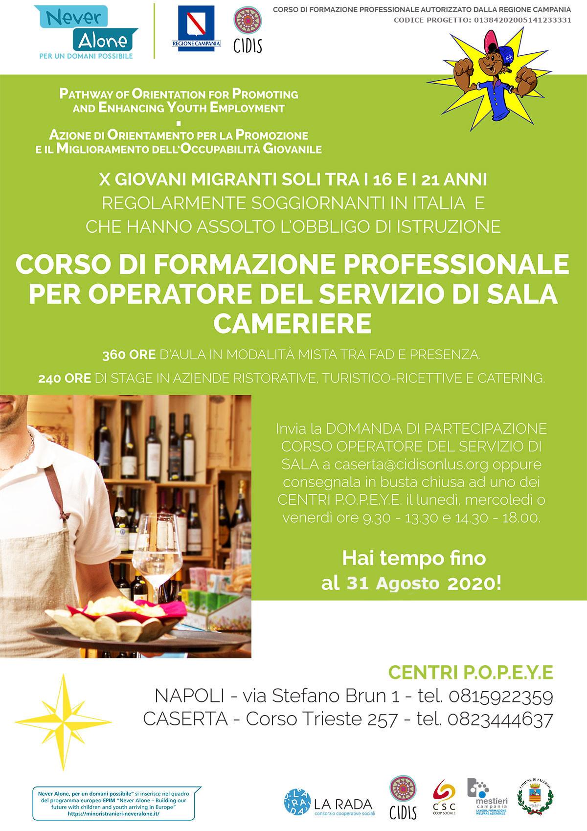 """Prorogato al 31 agosto il termine di iscrizione al Corso per """"Operatore di Sala – Cameriere"""""""