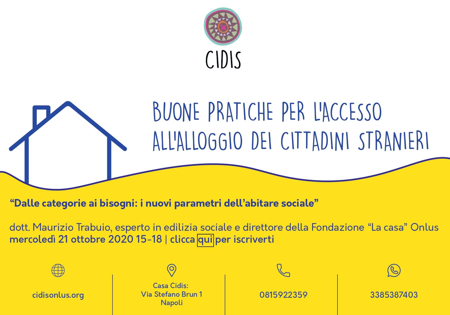 """""""Dalle categorie ai bisogni: i nuovi parametri dell'abitare sociale"""": il 21 ottobre secondo appuntamento con i webinar di Cidis Onlus"""