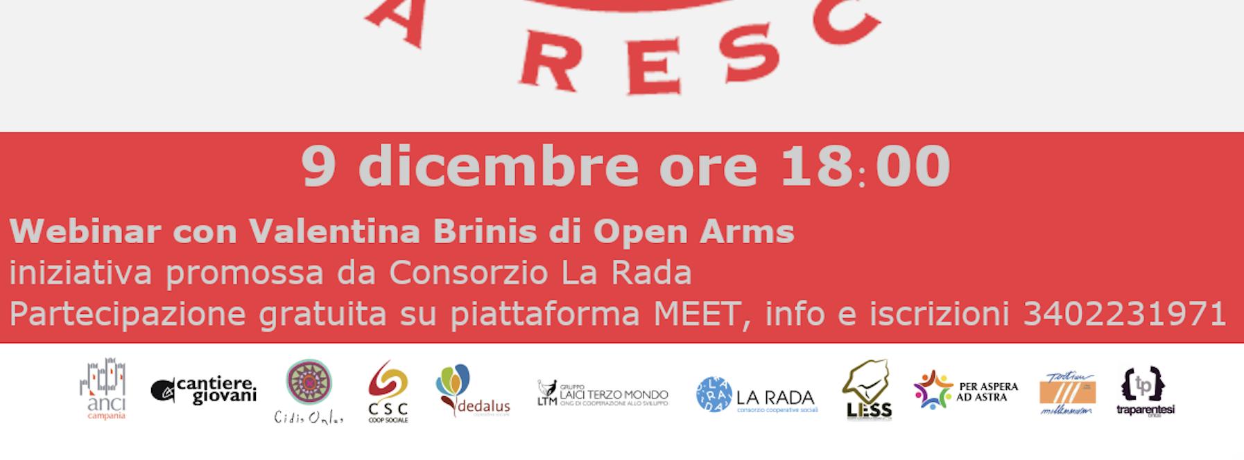 9 dicembre: incontro online con Valentina Brinis di Open Arms Italia