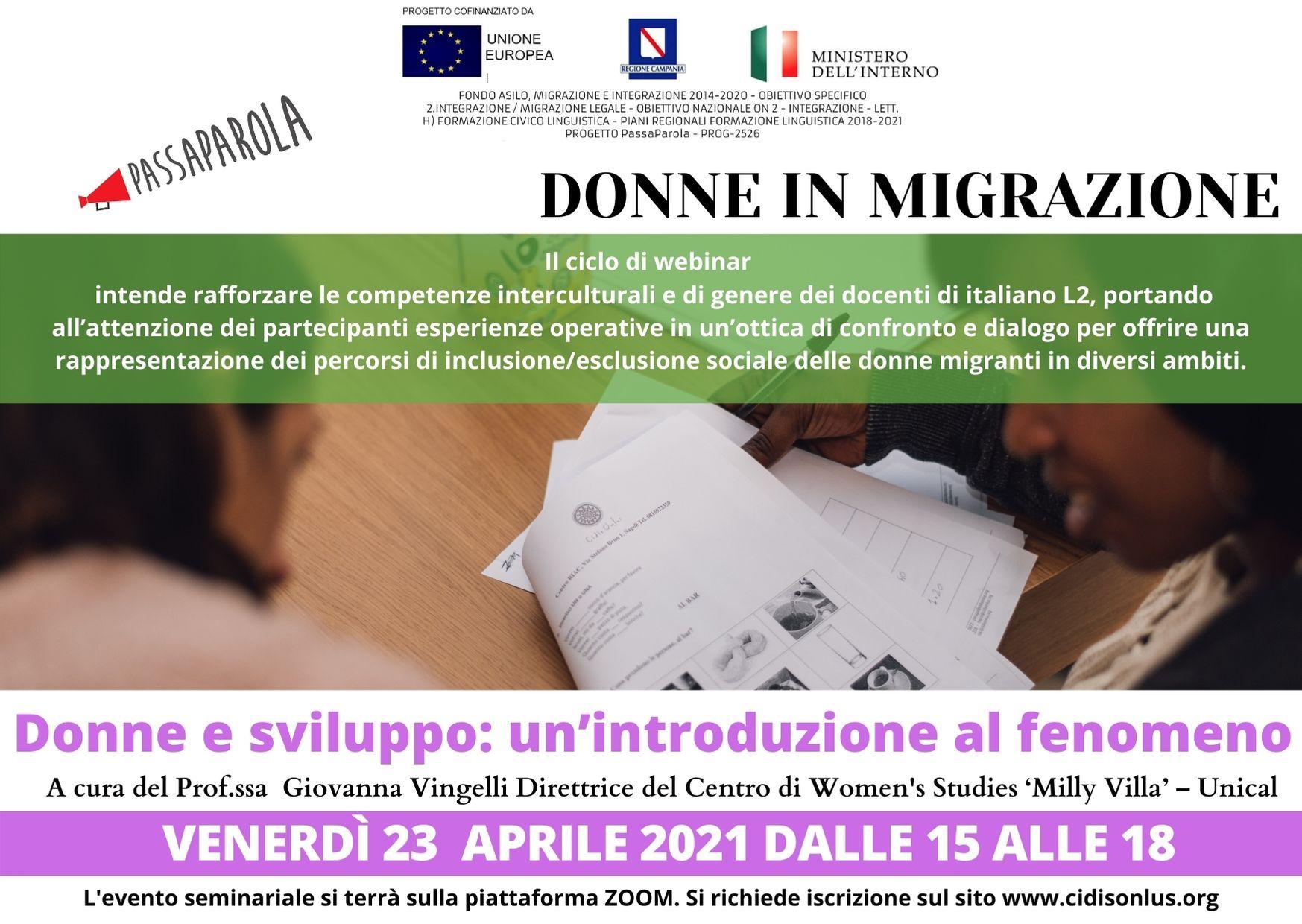"""Formazione docenti """"Donne in migrazione"""": 5 nuovi appuntamenti con Passaparola"""