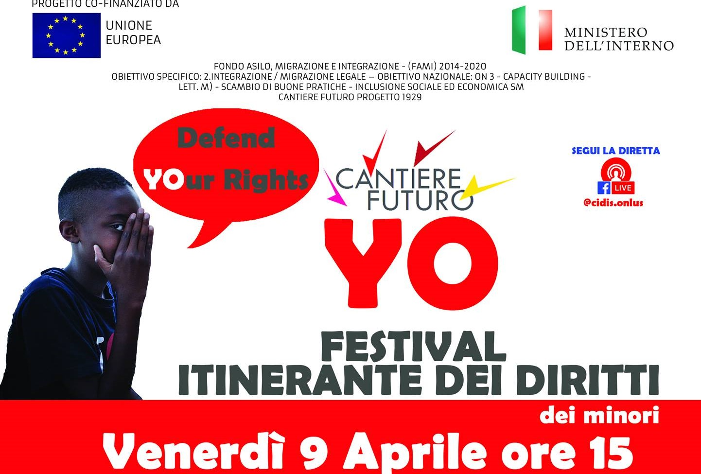 Yo – Festival Itinerante dei Diritti dei Minori: appuntamento online venerdì 9 aprile