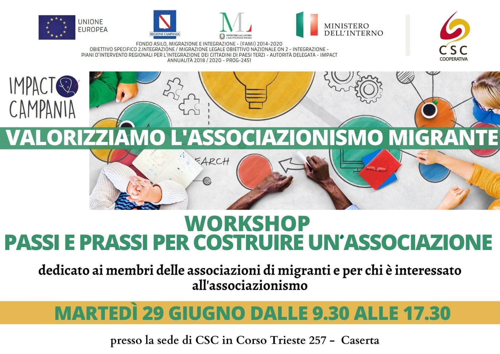 """""""Passi e prassi per costruire un'associazione"""": il 29 giugno il workshop CSC a Caserta"""