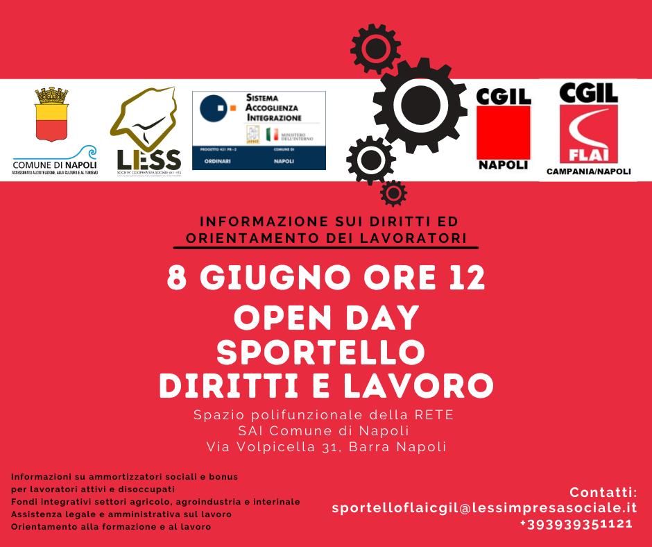 Open day Sportello Diritti e Lavoro: martedì 8 giugno al Centro Polifunzionale della Rete SAI di Napoli