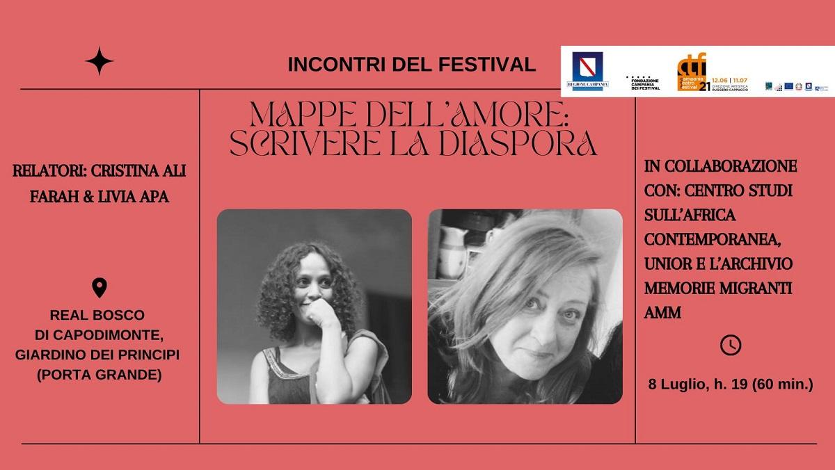 """Campania Teatro Festival: l'8 luglio l'incontro """"Mappe dell'amore: scrivere la diaspora"""""""