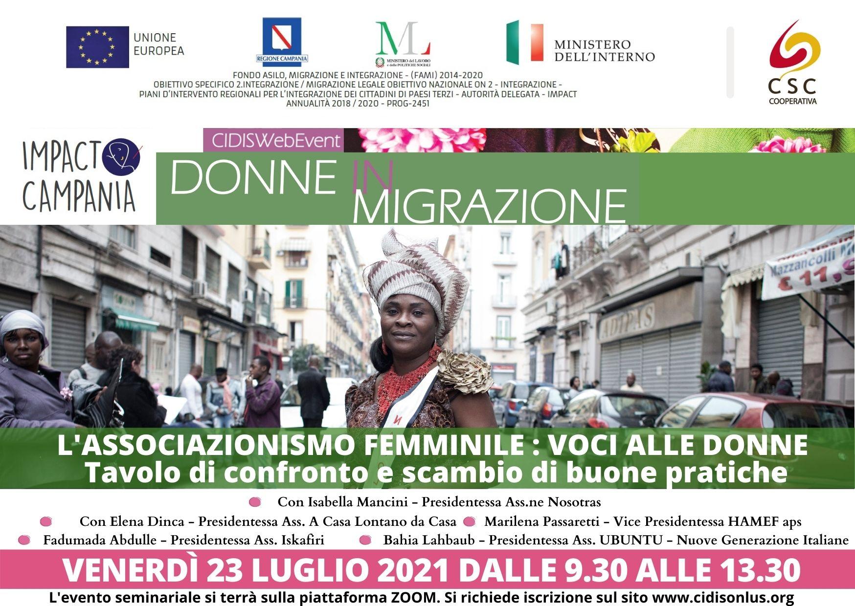 Donne in migrazione: ultimi due incontri di confronto e scambio buone pratiche