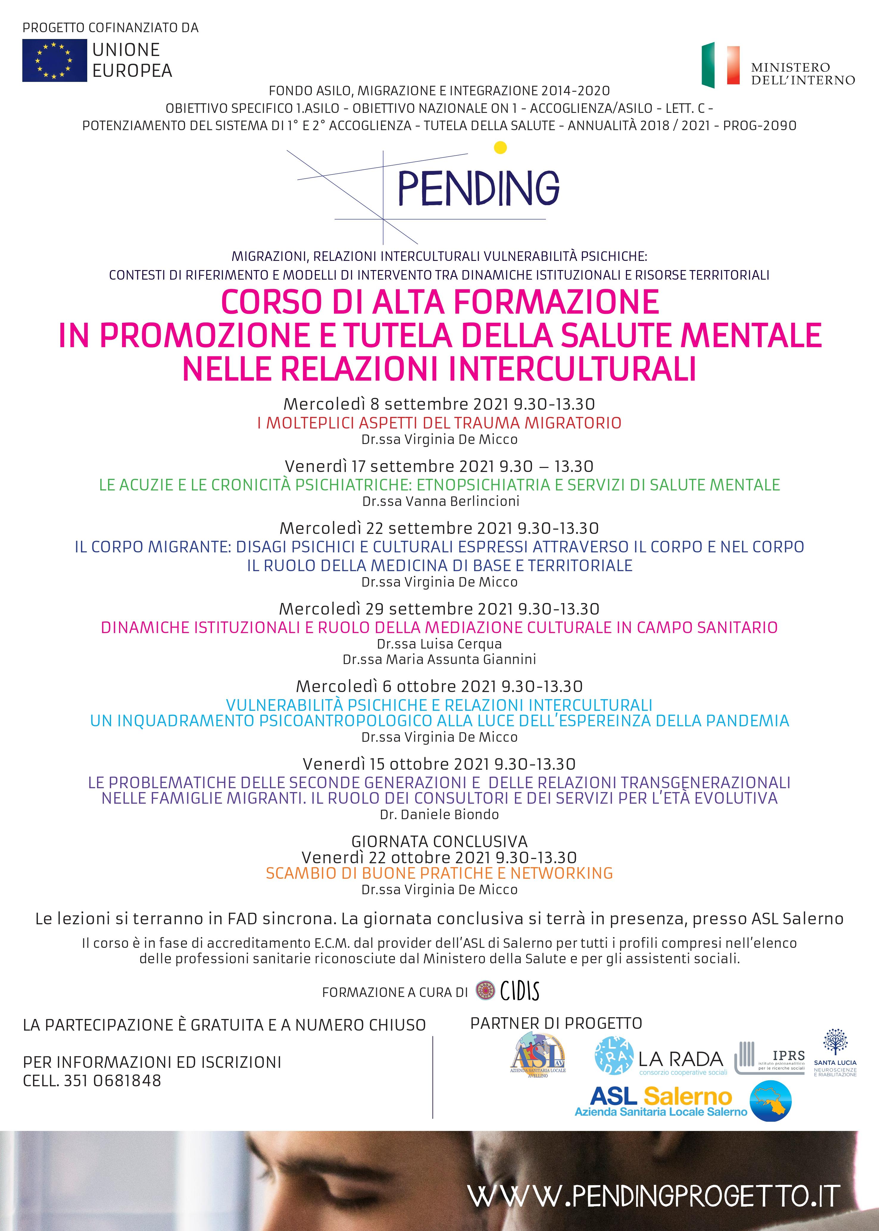 Asl Salerno: al via  corso di alta formazione in promozione e tutela della salute mentale nelle relazioni interculturali