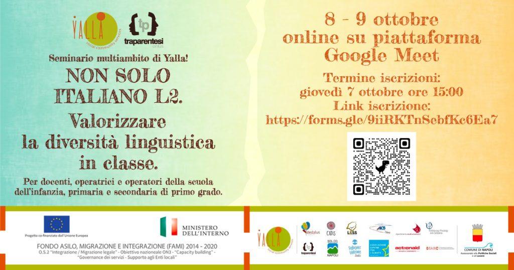 """Aperte le iscrizioni al seminario """"Non solo italiano L2. Valorizzare la diversità linguistica in classe"""""""